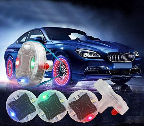 ASWT -Luces de Rueda de neumático de automóvil,Luz de energía Solar con sensores de Movimiento 4 Colores Diferentes,15 Modos Diferentes LED de luz de neumático Tapa de válvula de Aire