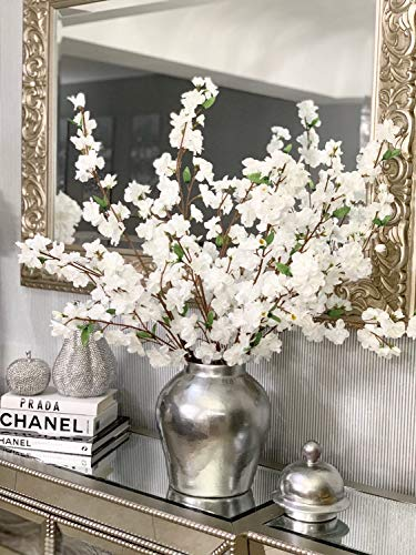 Larskilk Christmas White Cherry Blossom Flowers, Four 36 Inch Blossom Branches, Wedding, Party, Event, Xmas Holiday Décor, Japan's National Flower