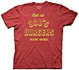 Bob's Burgers Eat at Bob's Burgers Adult T-Shirt, Heather Red, Size Medium