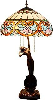 QGL-HQ Tiffany Lampe de Table Baroque Vitrail Salon Salle à Manger Chambre Chambre Lampe de Table Fait Main Diamètre 40 cm...