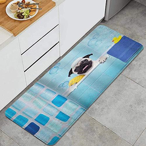 ALLMILL Alfombra de Cocina, Perro Pug en una bañera con expresión Divertida Pato y Toalla Tiempo de Lavado de Mascotas domésticas,tapete Decorativo para Piso de Cocina con Respaldo Antideslizante