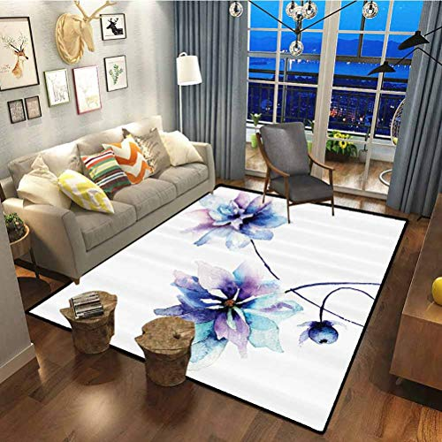 Watercolor Flower Decor Polyester Premium Rug for Living Room Laundry Room Decor Elegant Flower Drawing with Soft Spring Colors Retro Style Floral Art LWhite Purple and Blue 1.7 x 4.9 ft