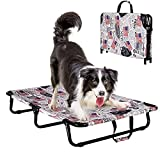 Portable Elevated Dog Bed, Raised Pet Cot with Replaceable Oxford Cloth , Premium Tear Resistant Cooling Dog Bed , No Assembly Required