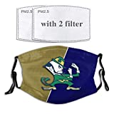 BABYLAB Notre Dame Fighting Irish Gear Football Team Face Adjustable Cover Windproof and Belt Washable Men's Adult's and Kid's Reusable Cloth Masks Flag