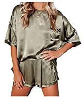 cheelot Womens Lounger Charmeuse Short Sleeves Solid-Colored Pant Sets Army Green S
