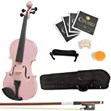 Mendini By Cecilio Solid Wood Violin 1/4 Size, Pink- Starter Kit w/Extra Strings Hard Case, Rosin, Bow - Stringed Musical Instruments For Kids & Adults