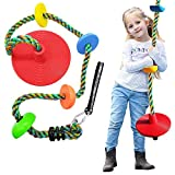 WISHAVE DUENEW Climbing Rope Tree Swing for Kids Multicolor Platforms Red Disc Swings Seat Set with Hanging Strap Outdoor Backyard Playground Playset Accessories