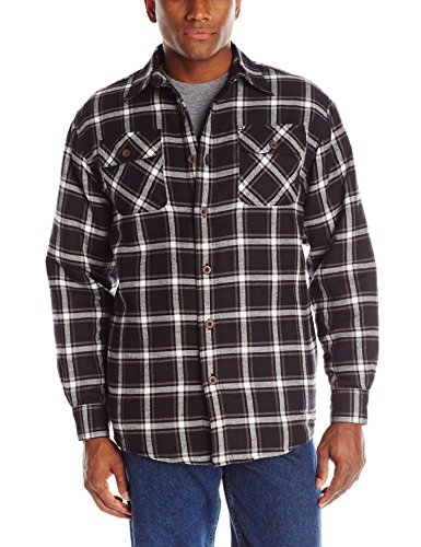 Wrangler Authentics Men's Long Sleeve Quilted Lined Flannel Shirt Jacket, Caviar, Large