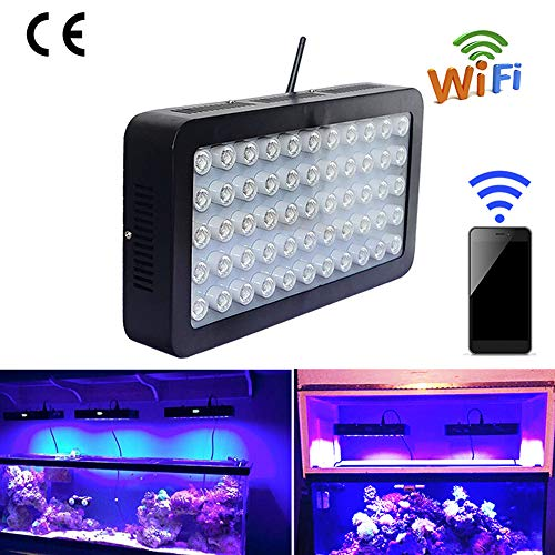 Hanchen LED Aquarium Light, Full Spectrum Dimmable LED Aquarium Lamp 165W 4800LM Intelligent WIFI Dimming IOS Android for Coral Reef Marine Saltwater Freshwater Fish Tank with CE Certificate (UK plug)