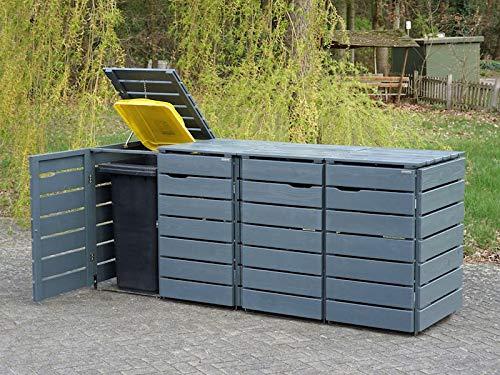 4er Mülltonnenbox / Mülltonnenverkleidung 240 L Holz, Deckend Geölt Tannengrün