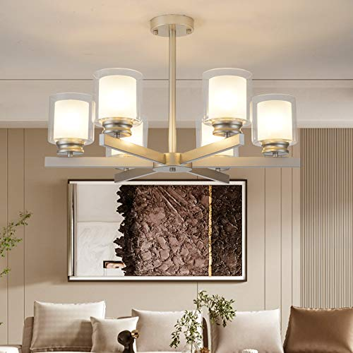 Natsen Kronleuchter 6-flammig E27 Hängenlampe Beleuchtung ohne Leuchtmittel Ø90xH60cm