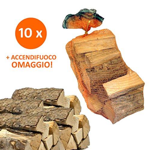 10 Sacchi da 15 kg legna da ardere 100% faggio 150 kg tronchetti per camino stufa (25 CM)