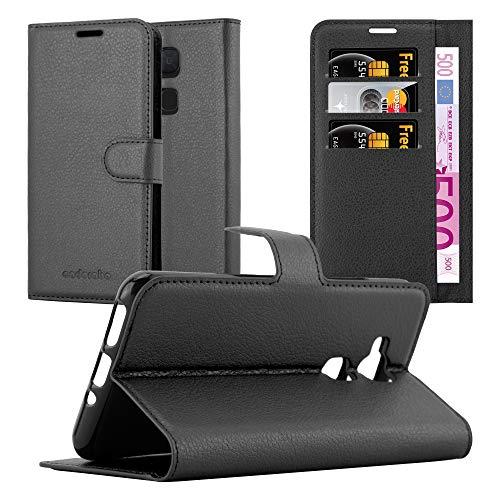 Cadorabo Hülle für BQ Aquaris V/Vs - Hülle in Phantom SCHWARZ - Handyhülle mit Kartenfach & Standfunktion - Case Cover Schutzhülle Etui Tasche Book Klapp Style