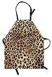 onepicebest Bib Apron Leopard Print Apron, Skin Pattern of a Wild Safari Animal Powerful Panthera Big Cat, Unisex Kitchen Bib Apron with Adjustable Neck for Cooking Baking Gardening, Pale Brown Black