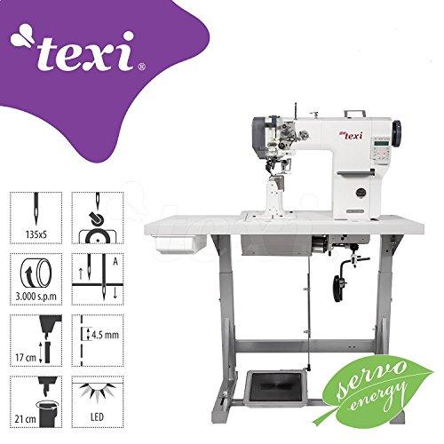 TEXI zuilmachine - industriële naaimachine - stepsteek rolvoet naaldtransport - industriële industriële naaimachine - compleet (met tafel en frame) - NIEUW