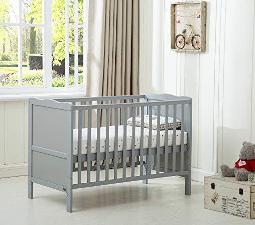 Cot Bed Wooden Baby Cot Toddler Bed Premier Aloe Vera Water Repellent Mattress Orlando (Grey)