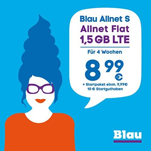 Blau Allnet S (SIM, Micro-SIM und Nano-SIM), ohne Vertragslaufzeit, 1,5 GB mit LTE, Allnet Flat Min./SMS in alle dt. Netze, EU-Vorteil, 8,99€/4 Wochen, inkl. 10€ Startguthaben, O2 Netz