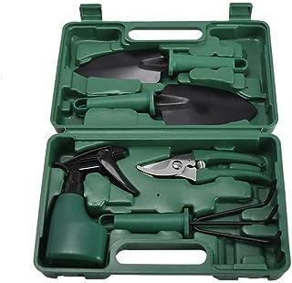Garden Tools Set-5 Piece Heavy Duty Gardening Kit with Storage Organizer Hand Digging Weeder Rake Shovel Trowel Sprayer