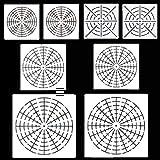 8枚 曼荼羅 図面テンプレート 蜘蛛の巣 射撃練習 中心に狙う マンダラ ステンシル 対称絵画 製図用品 絵画学習 描画ツール DIY定規 ホワイト
