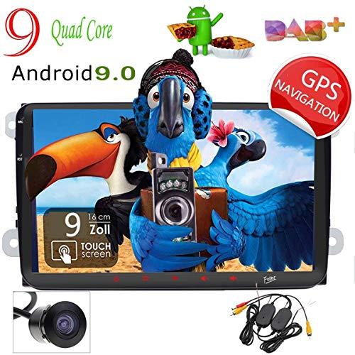 "Foiioe telecamera backup incluso.Android 9.0Car stereo audio navigazione GPS 2DIN 9"" per VW Golf Passat Skoda Jetta Tiguan Seat 2GB 16GB 1080p video FM AM DAB radio Bluetooth USB camera Swc"