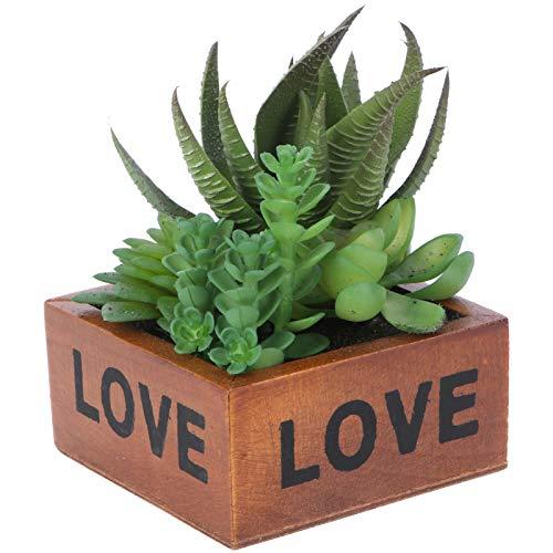 Yardwe Artificiale Succulente Piante in vasi Piante grasse finte pianta Artificiale da Interno Faux Succulente in Vaso di Legno per la Casa Bonsai Decor (Aloe)