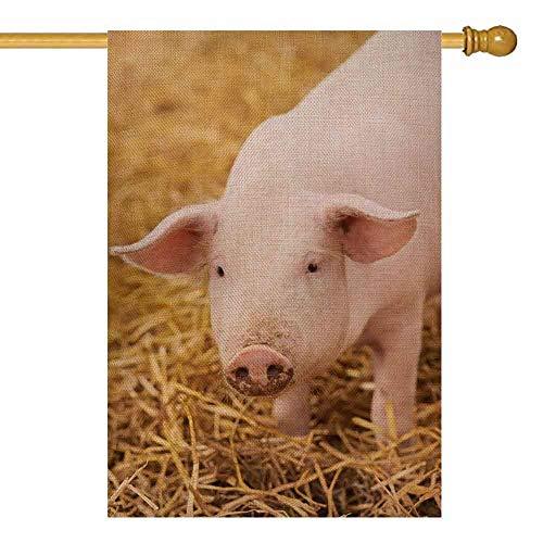 Maison de porc rose drapeaux 12,5 'x 18' toile de jute saisonnière double face décoration extérieure pour enfants drapeau de maison en plein air jeune sur le foin et le porc de paille Porcelet de ferm
