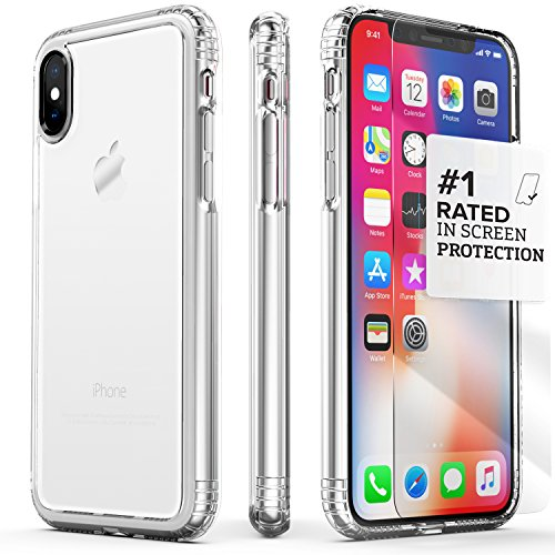 iPhone X Case, SaharaCase Protective Kit Bundle with [ZeroDamage Tempered Glass Screen Protector] Rugged Protection Anti-Slip Grip [Shockproof Bumper] Anti-Scratch Back Slim Fit iPhone 10 – Clear