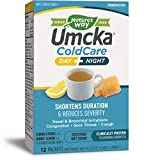 Nature's Way Umcka ColdCare Day + Night, Soothing Hot Drink Mixes, Lemon & Honey Flavors, 12 Packets