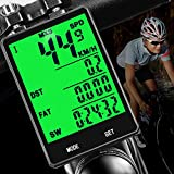 DINOKA Wireless Bike Computer,Multifunction Wireless with Extra Large LCD Backlight Display Bike Speedometer and Odometer with Automatic Wake-up Multifunction Fits All Bikes