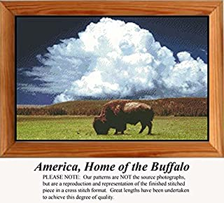 America, Home of the Buffalo, Animal Counted Cross Stitch Pattern (Pattern Only, You Provide the Floss and Fabric)