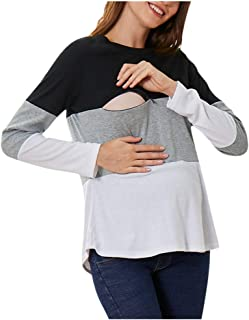 Pongfunsy Women Pregnant Maternity Nursing Breastfeeding Top T-Shirt Blouse