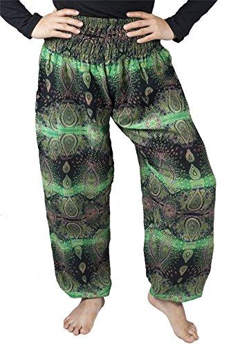 LOFBAZ Travel Beach Pants for Women Vacation Accessories Harem Hippie Clothes Kit Yoga Boho Lounge Clothing Bohemian Pajamas Oval Green XL