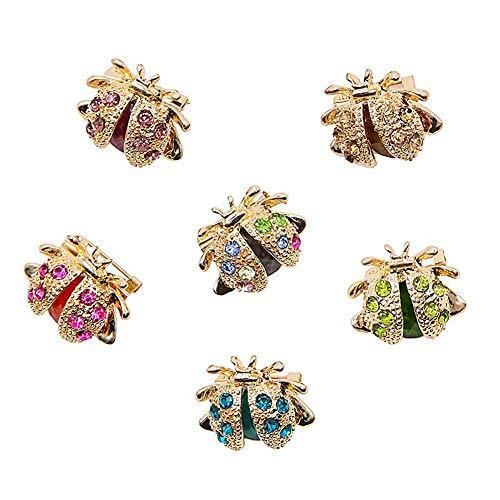 FANDE 6 Pcs Conjunto de Broches para Mujer, Broche de Mariquita, Broche de Cristal En Forma de Animal, para Regalos De CumpleañOs, Accesorios, Accesorios De Ropa