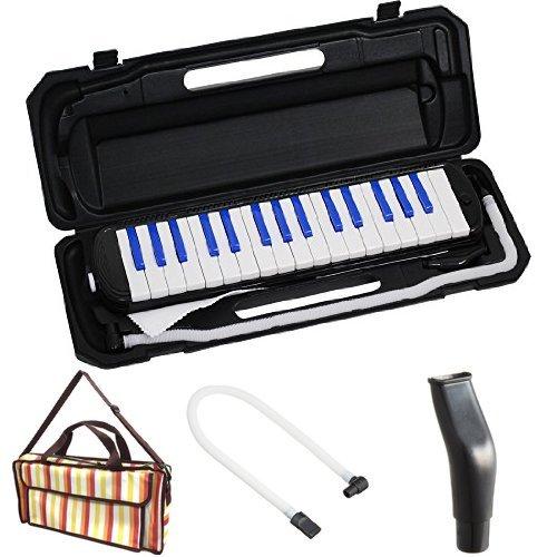 KC 鍵盤ハーモニカ (メロディーピアノ) ブラック/ブルー P3001-32K/BKBL + 専用バッグ[Multi Stripe] + 予備ホース + 予備吹き口 セット