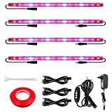 Grow Light Strip for Indoor Plants, Full Spectrum Auto On/Off Plant Grow Light Bars Growing Light with Extension Cables for Tent Greenhouse Gardening Hydroponics