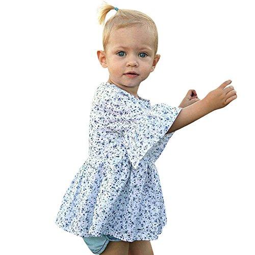 Vovotrade® Toddler Bébé Filles Baby Girls Prin Impression Volants Manches Demi Robe d'Été Jupe Tenues Vêtements Dress Summer Skirt (Blue, 18M)