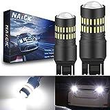 NATGIC 7443 T20 7440 7440NA Bombillas LED Chipsets de xenón blanco 2400LM 48-SMD 4014 con proyector para detener Reveser Estacionamiento de cola Luz de respaldo de parada (paquete de 2)