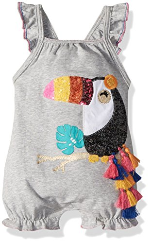 Mud Pie Baby Girls Toucan Flutter Sleeve One Piece Bubble Playwear, Gray, 0-3 Months