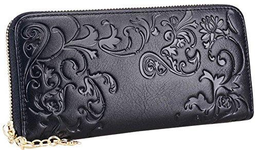 """le vendite di primavera 2017 Valentoria® Borsetta portafogli da donna stile """"La gloria del mattino"""", lunga, zip intorno, porta carte, Black"""