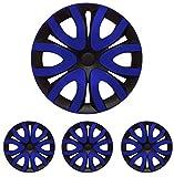 """Fussmatten-Deluxe 4er Set Universal Radkappen Radzierblenden 16 Zoll 16"""" R16 universell für Stahlfelgen vieler Fabrikate Bicolor Schwarz - Blau"""