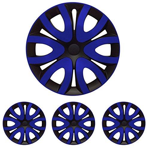 """Fussmatten-Deluxe 4er Set Universal Radkappen Radzierblenden 14 Zoll 14"""" R14 universell für Stahlfelgen vieler Fabrikate Bicolor Schwarz - Blau"""
