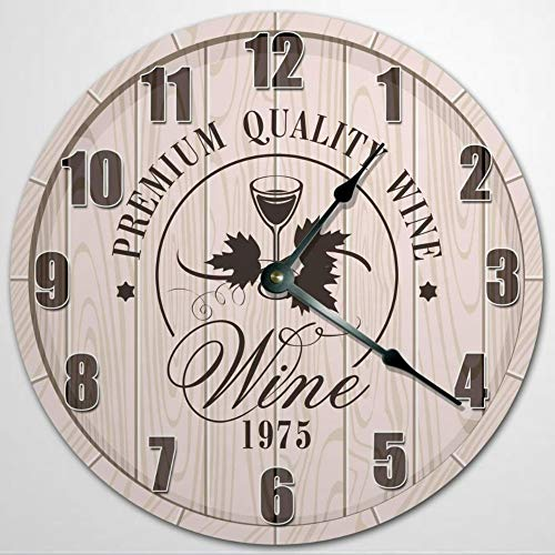 Reloj de pared de cristal de vino en barril, reloj de pared de madera de 30,5 cm, funciona con pilas, decoración de pared de granja