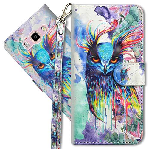 MRSTER J2 Prime Handytasche, Leder Schutzhülle Brieftasche Hülle Flip Hülle 3D Muster Cover mit Kartenfach Magnet Tasche Handyhüllen für Samsung Galaxy Grand Prime G530. YX 3D - Colorful Owl