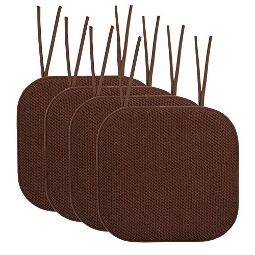 "Sweet Home Collection Chair Cushion Memory Foam Pads with Ties Honeycomb Pattern Slip Non Skid Rubber Back Rounded Square 16"" x 16"" Seat Cover, 4 Pack, Chocolate Brown 4 Count"
