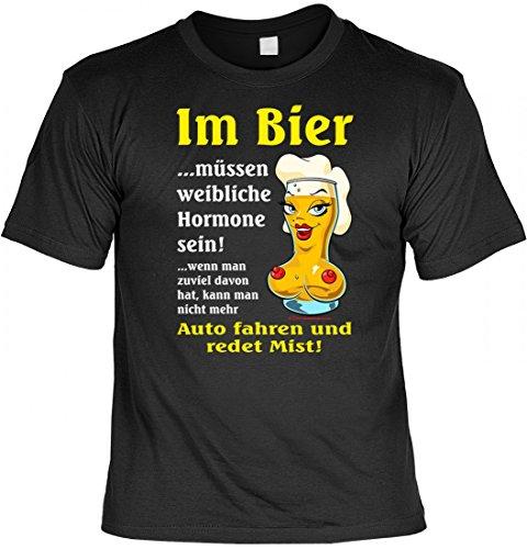 T-Shirt - Im Bier müssen weibliche Hormone Sein - lustiges Sprüche-Shirt im Geschenk-Set mit witziger Urkunde - Schwarz, Größe:5XL