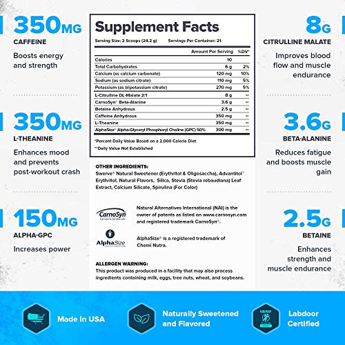 Legion Pulse Pre Workout Supplement - All Natural Nitric Oxide Preworkout Drink to Boost Energy & Endurance. Creatine Free, Naturally Sweetened & Flavored, Safe & Healthy. Blue Raspberry, 21 Servings.
