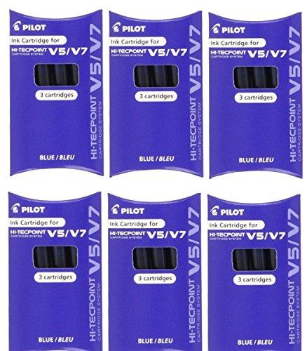 Piloto BXC-V5 / V7 Azul Relleno Repuesto Repuesto Cartuchos De Tinta Para Hi-Tecpoint v5 & v7 Cartucho Sistema Punta redonda Bolígrafo Rellenable Líquido tinta (Paquete De 6 - 18 cartuchos)