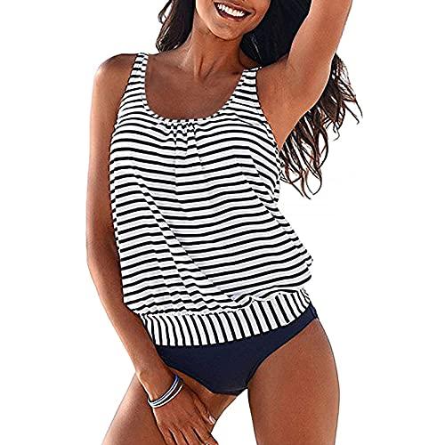 Laonajkd Tankini Damen bauchweg Bademode Set zweiteilig Drucken Push up mit Einstellbarer Bikinislip Tankini Top Gepolsterte Große Größen Beachwear