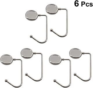 TOPBATHY 6pcs Metal Foldable Handbag Hanger Purse Hook Rack Holder Bag Table Hook for Women Girl Birthday Gift (30mm Inner Diameter Silver)