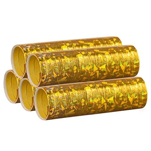 PartyMarty Gold Metallic Luftschlangen im 5er Sparpack - 5 Rollen mit je 18 holografisch-glitzernden Luftschlangen - für Karneval, Fasching, Geburtstag, Hochzeit Jubiläum Dekoration GmbH®